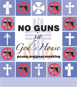 No Guns in God's House Sign with added bar