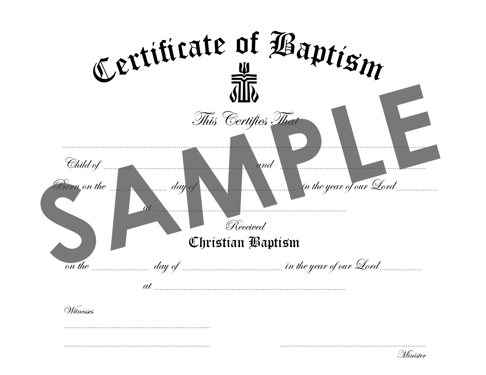 Certificate of Baptism: Child/Youth