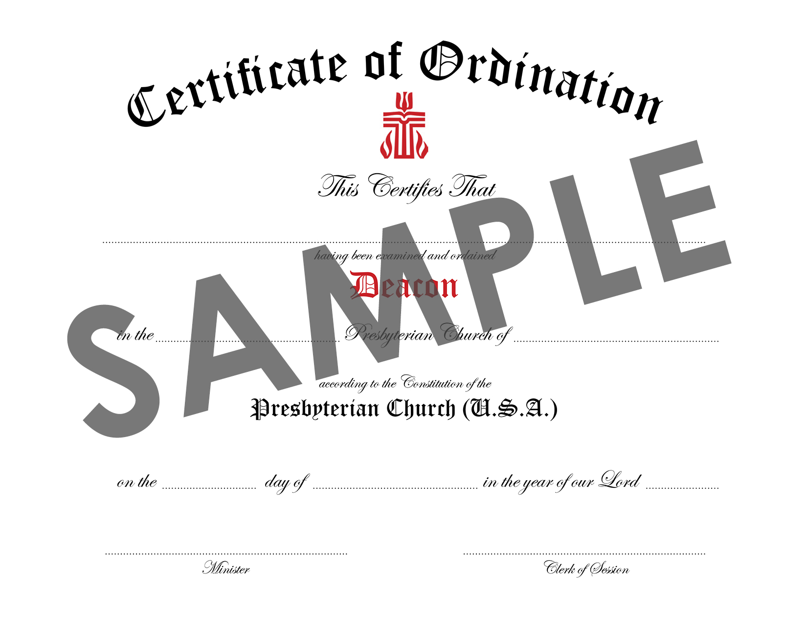 Certificate of Ordination of Deacon