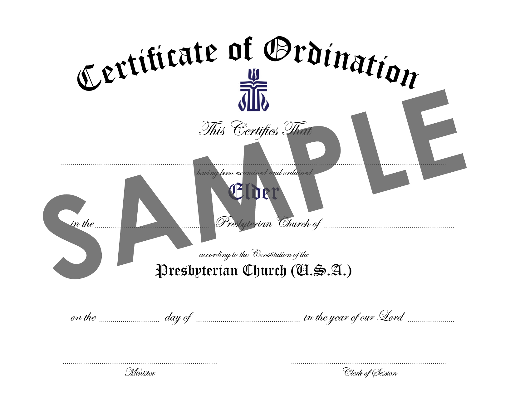 Certificate of Ordination of Elder