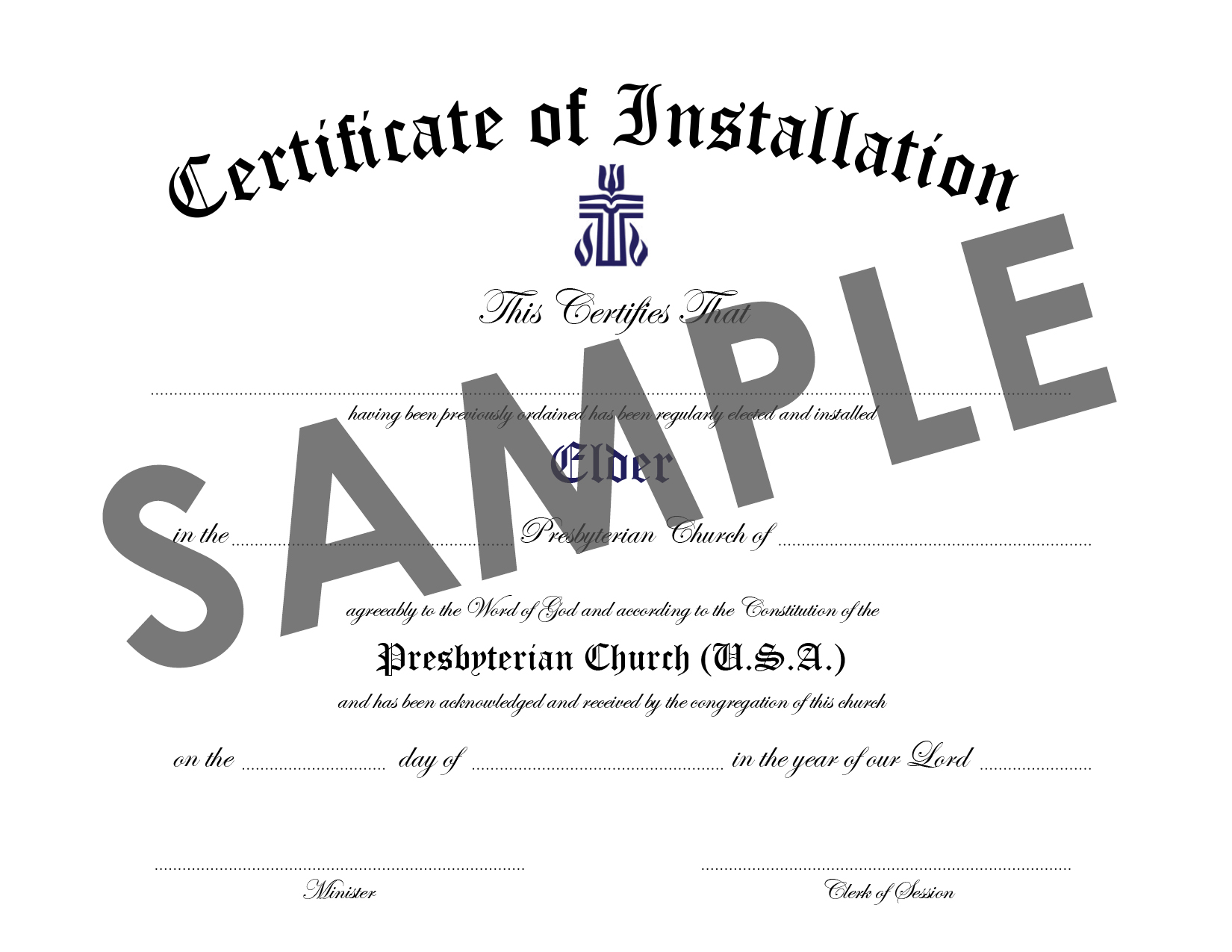 Certificate of Installation of Elder