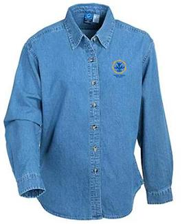 PW Logo Long-sleeve Faded Denim Shirt Medium
